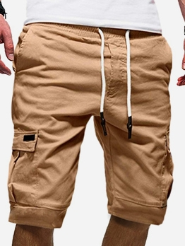 Solid Drawstring Short Cargo Pants For Men