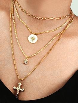 Multi Layered Cross Pendant Glossy Chain Necklace