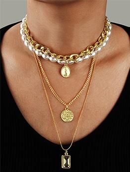 White Faux Pearl Geometric Pendant Vintage Necklace