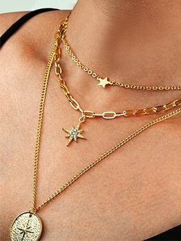 Retro Star Round Pendant Chain Necklace For Women