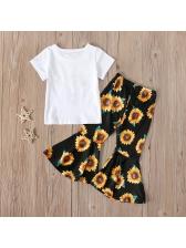 Daisy Print Flare Pant Casual Girls Clothing Sets