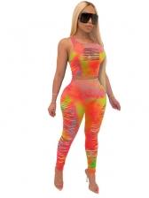 Bright Color Tie Dye Torn Design Skinny 2 Piece Set