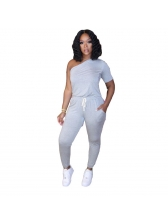 One Sleeve Inclined Shoulder Casual Jumpsuit