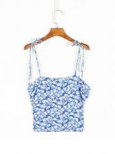 Spaghetti Strap Floral Blue Camisoles Top