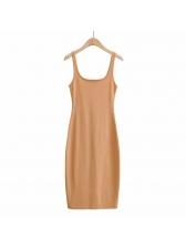 U Neck Solid Color Simple Sleeveless Dress
