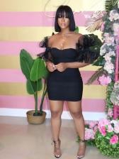 Chic Gauze Patchwork Short Sleeve Mini Dress