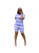 Tie Dye Short Sleeve Casual 2 Piece Outfits
