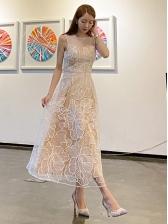 Crew Neck Gauze Patchwork Embroidery Maxi Dress