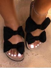 Bow Decor Slip On Women Slippers