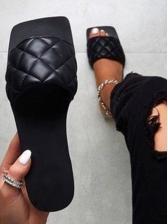 Square Toe Flat Womens Slippers