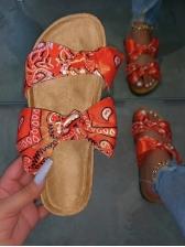 Satin Bowknot Decor Beach Ladies Slippers