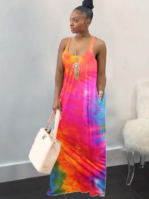 Tie Dye Casual Sleeveless Maxi Dress