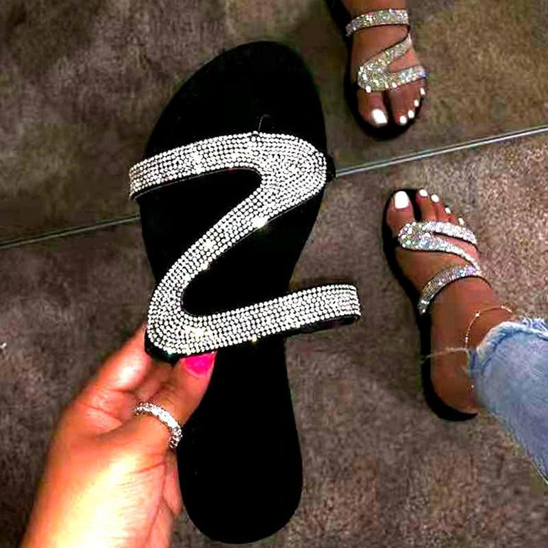 Rhinestone Beach Summer Womens Slippers