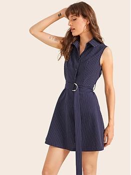 Pinstripes Turndown Neck Summer Sleeveless Dress