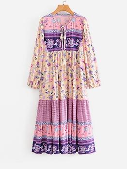 Loose Patchwork Women Long Sleeve Maxi Dress