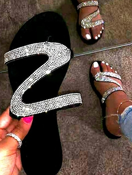 Rhinestone Beach Summer Womens Slippers