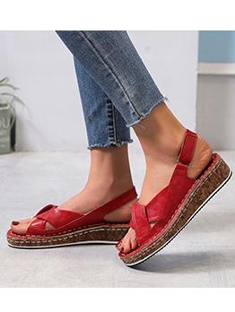 Versatile Solid Round Toe Womens Sandals
