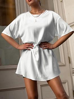 Solid Short Sleeve Satin T Shirt Dress