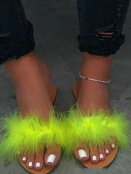 Euro Faux Fur Slip On Womens Slippers
