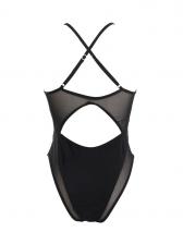 Gauze Patch High Cut Black Swimsuit