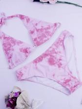 Tie Dye Halter Neck Trendy Bikini Set For Women
