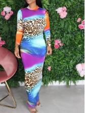 Gradient Color Leopard Long Sleeve Maxi Dress