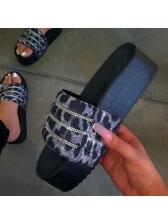 Fashion Rhinestone Platform Ladies Slippers