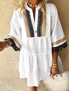 Hawaiian Vacation Tassel Decor Contrast Color Short Skirt