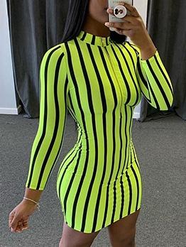 Stand Neck Striped Long Sleeve Short Dress