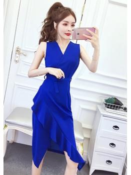 V Neck Pure Color Ruffled Formal Dresses