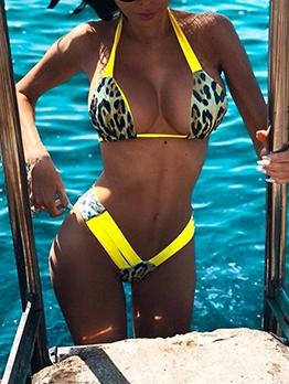 Sexy Print Backless Halter Bikini For Women