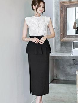 Elegant Sleeveless Three Piece Top And Skirt Set