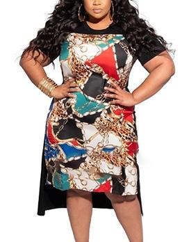 Chain Print Short Sleeve Plus Size Dresses