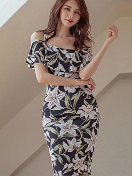 Korean Style Flower Printed Bodycon Dress