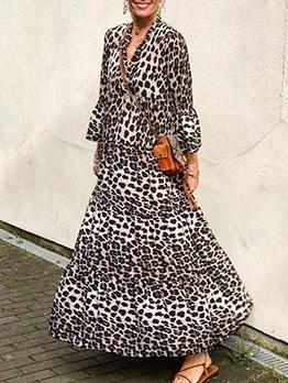 Bohemian Style Leopard Print Long Sleeve Long Dresses