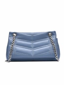 Threaded Design Solid Color Chain Shoulder Bag