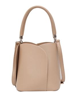 Drawstring Solid Bucket Shoulder Bag With Handle