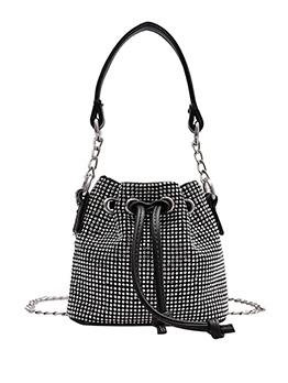 Shiny Rhinestone Drawstring Small Crossbody Bags