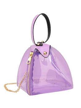 Polygon Clear PVC Zipper Chain Crossbody Bags