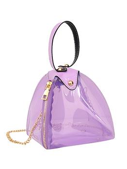 Polygon Clear PVC Zipper Chain Crossbody Bags