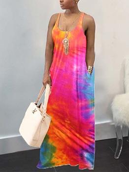 U Neck Tie Dye Sleeveless Maxi Dress
