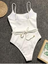 Hot Sale Deep U Neck Solid One Piece Bathing Suit