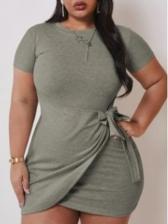 Plus Size Tie-Wrap Solid Color Short Dresses