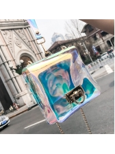 Chic Laser PVC Chain Shoulder Bag With Handle