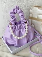 Draped Handle Faux Pearl Solid Ladies Handbags