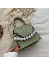 Crocodile Print Faux Pearl Shoulder Bags With Handle