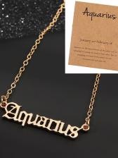 Zodiac Letter Titanium Steel Solid Color Women Necklace