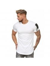Pocket Patchwork Short Sleeve Crew Neck Sport T Shirt