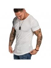 Printed Gradient Color Short Sleeve Tee Shirts