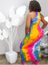 Casual Letter Print Tie Dye Sleeveless Maxi Dress